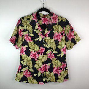 Tommy Bahama 100% Silk Floral Short Sleeve Blouse